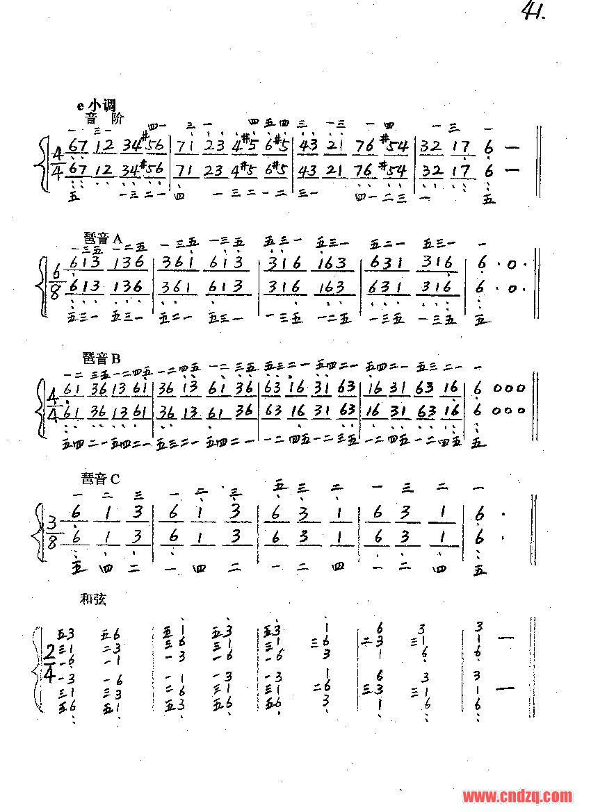 续发简谱《哈农钢琴练指法》38~50页—即24个大小调图片