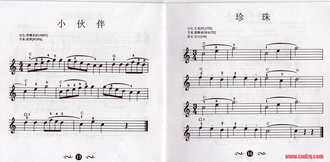 关瑞红的电子琴入门教程乐谱